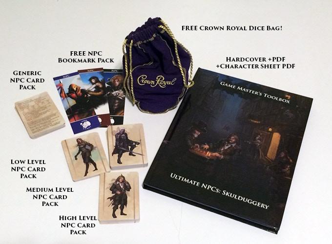 Hardcover Book +PDF, Low, Medium, and High Level Card Packs, Generic NPC Card Pack, Character Sheet PDF, FREE NPC Bookmark Pack, and FREE Crown Royal Dice Bag!
