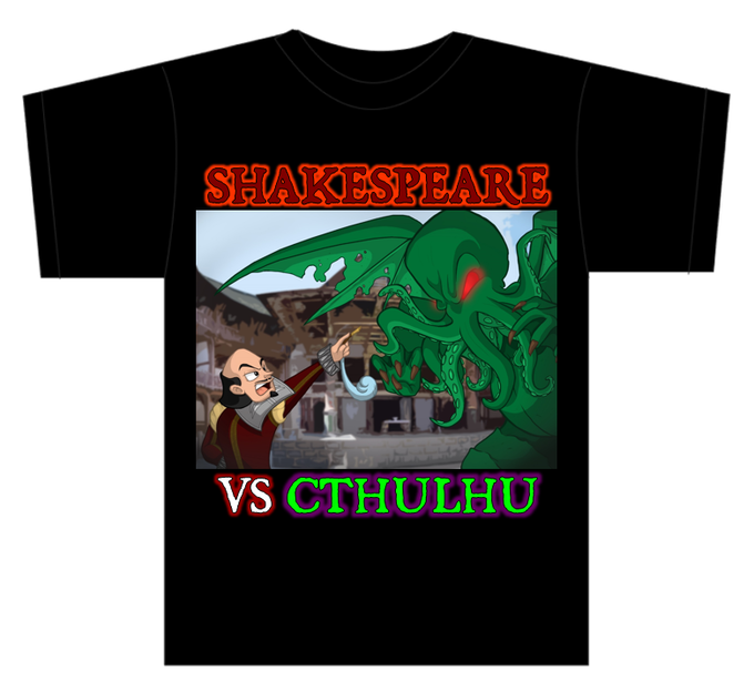 Shakespeare Vs Cthulhu T-shirt featuring artwork by Nicole Wykes (Not Final Artwork)