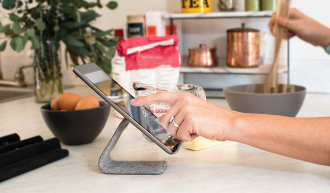 Lift your device safely off the (messy) kitchen counter