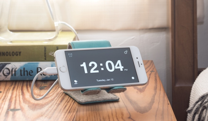 Download the free Snooze App to turn your phone into a clock and alarm with customizable snooze settings