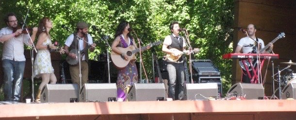 Girlyman & Coyote Grace onstage at Rocky Mountain Folks Fest in 2011.