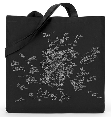 This silkscreened book bag featuring an image of Ursula's hand-drawn map of the Earthsea archipelago is available as part of the $75 SOLLY'S PACK and some higher-level rewards.