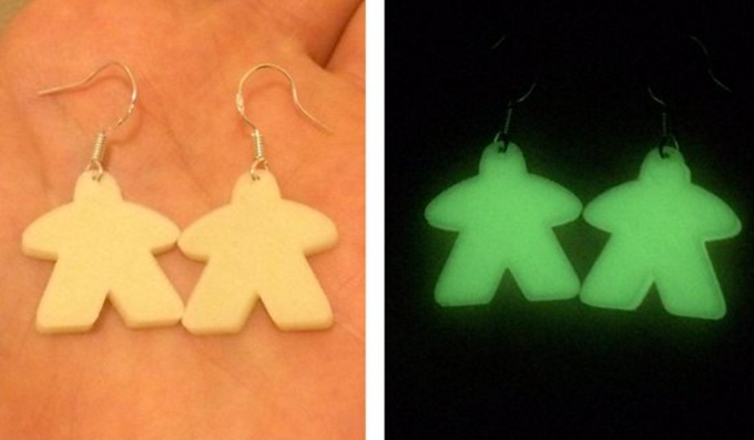 Glow in the dark meeple earrings!