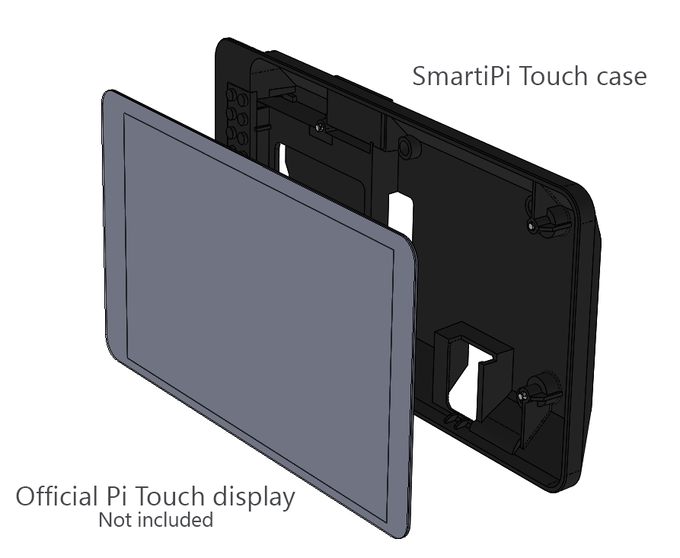 The display ( not included ) screws into the SmartiPi touch case