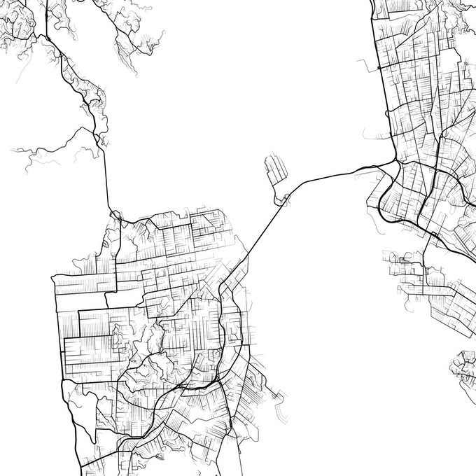 San Francisco showing all roads going to the Sunset