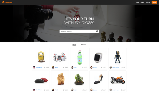 Foldio360 online platform page sample