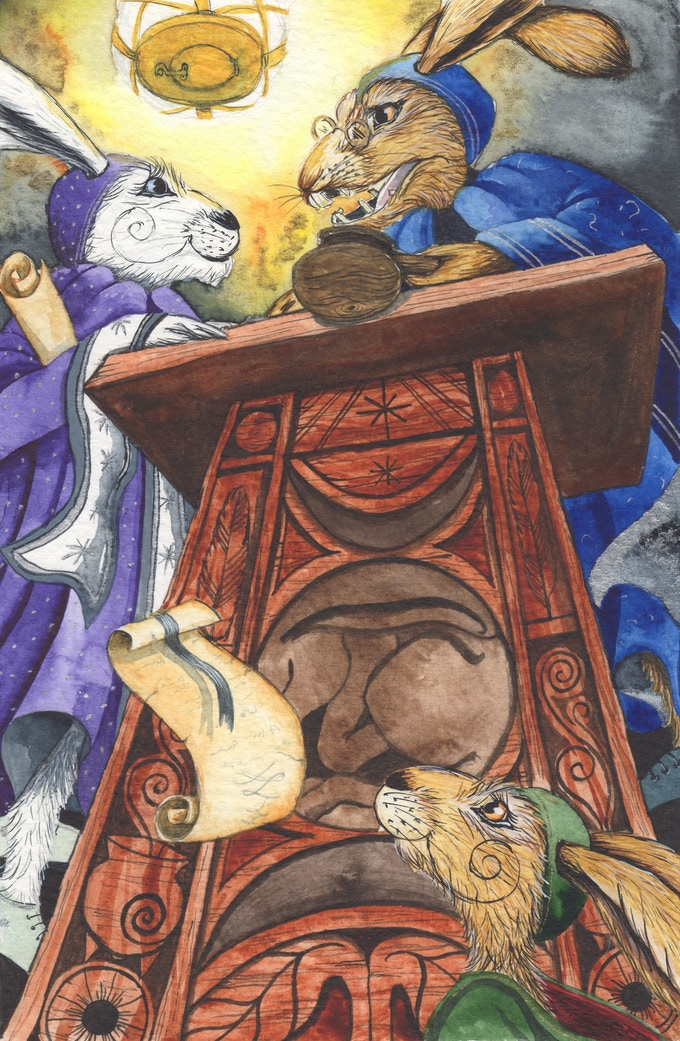 Judge Baselott, Ledel and Matlock in the courtroom of The Ganticus Ethereal Realm - illustration from 'The Trial of the Majickal-Elders'.