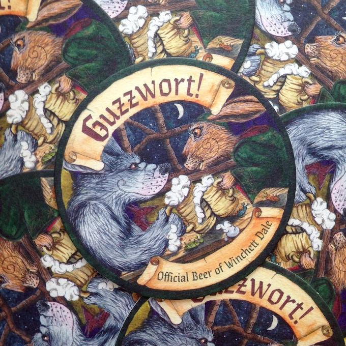 'Guzzwort' beermats - the 'official' beer of Winchett Dale!