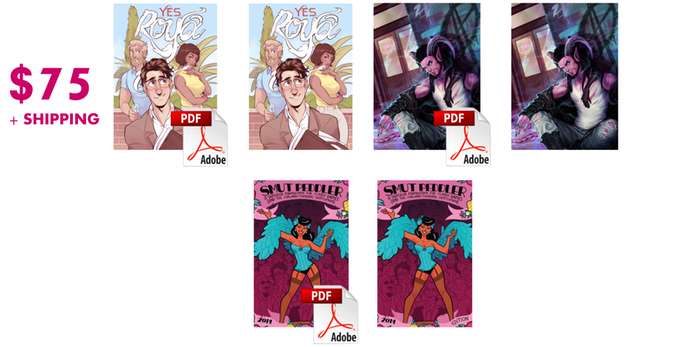The $75 tier gets you DRM-free PDFs and paperback copies of Yes, Roya, My Monster Boyfriend, and Smut Peddler 2014!
