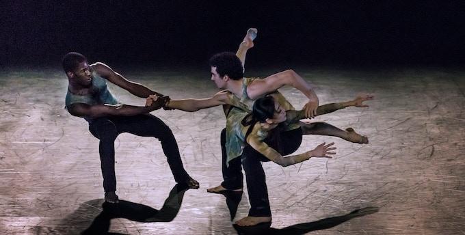 "Lloyd Knight, Lorenzo Pagano and Xin Ying in ""Depak Ine"" by Nacho Duato. Photo by Christopher Jones"