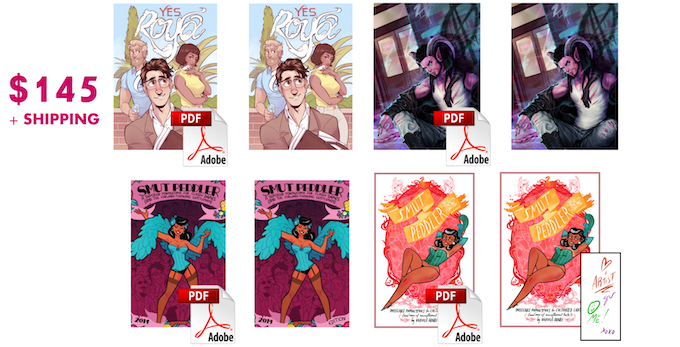 $145 Gets you DRM-free PDFs of Yes, Roya, My Monster Boyfriend, Smut Peddler 2012, Smut Peddler 2014, and paperback versions of them all... INCLUDING the now super-difficult-to-get bookplate, signed by all of SP 2012's artists!
