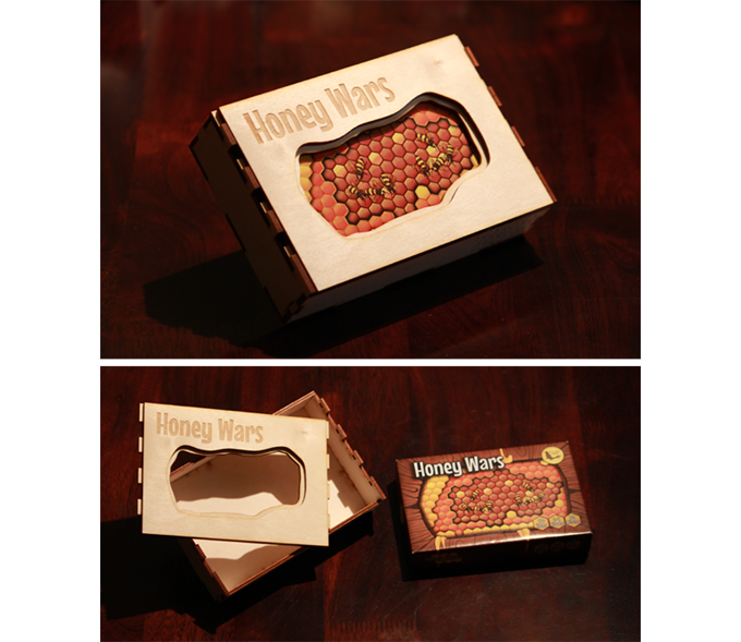 Prototype of the Collector's Edition box for Deluxe Honey Wars. The final product will be professionally sanded, stained, and finished.