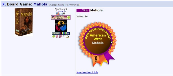 """""""I am proud that Mahola made the BGG list for Most Anticipated American West Games for 2016!"""""""