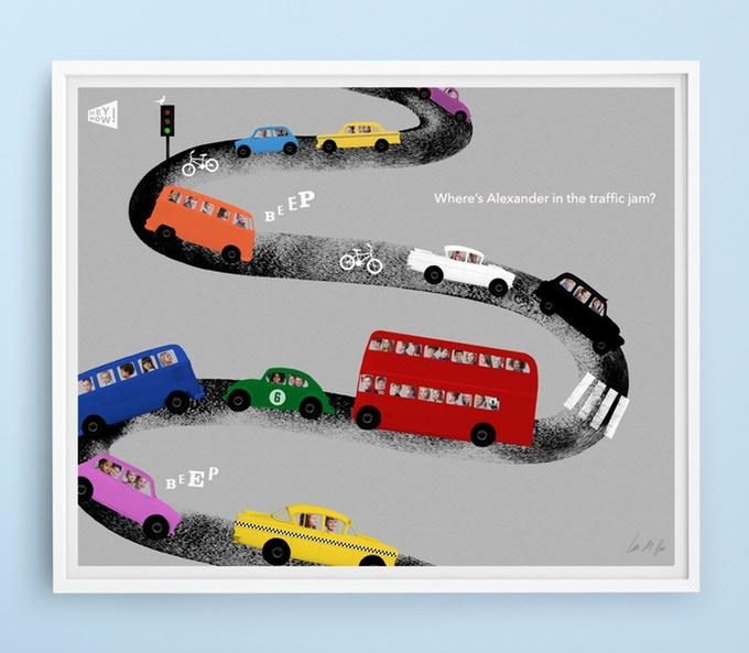 Personalised print 'In the traffic jam'