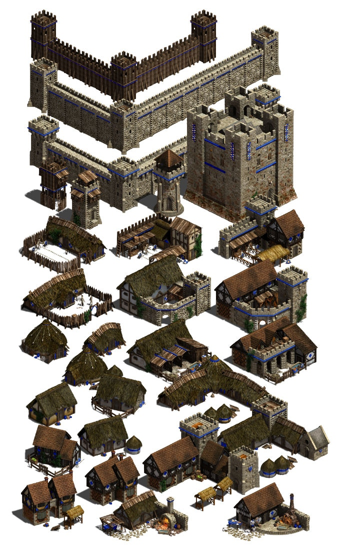 English building prototypes, tier 1-3 (not to scale)