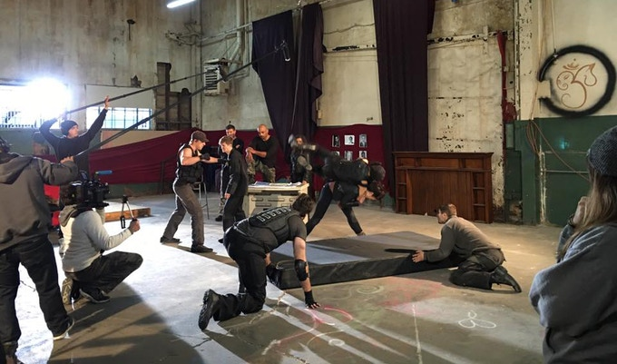 Behind-the-Scenes Photo filming stunt shot in The Hunters: Betrayal