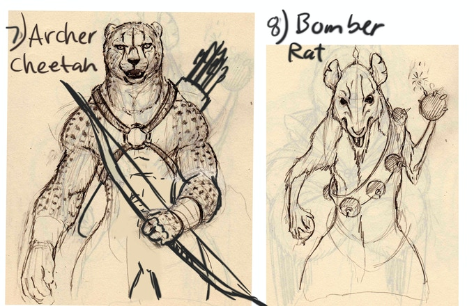 Early Cheetah and Bomber Sketch