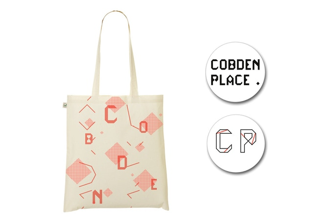 - £10 - Cobden Place Tote Bag Bundle - Florescent Orange Screen printed bag + Stickers