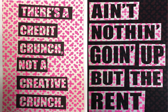 £300 - Three Aida Wilde Screen Prints - 'Nothin' Going Up But the Rent & Credit Crunch not a Creative Crunch.