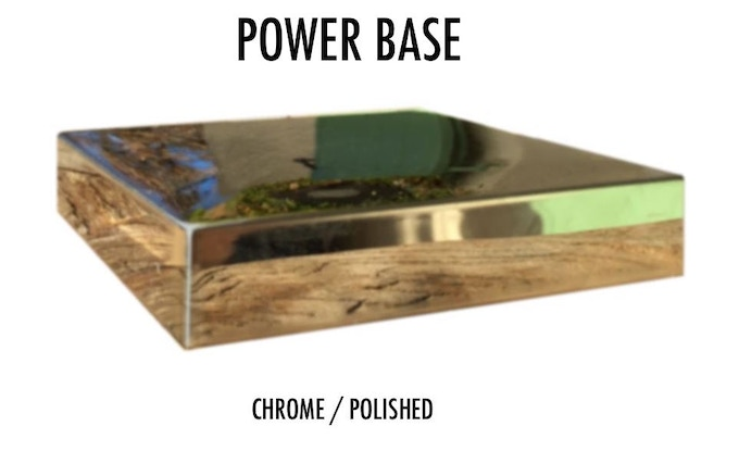 Base Option: Chrome / Stainless Steel Polished. Dimensions: 100 x 100 mm