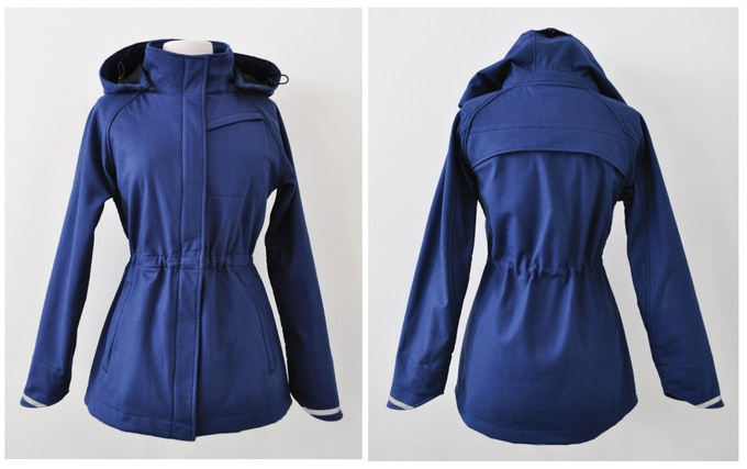 Women's Commuter jacket in Blue studio front and back