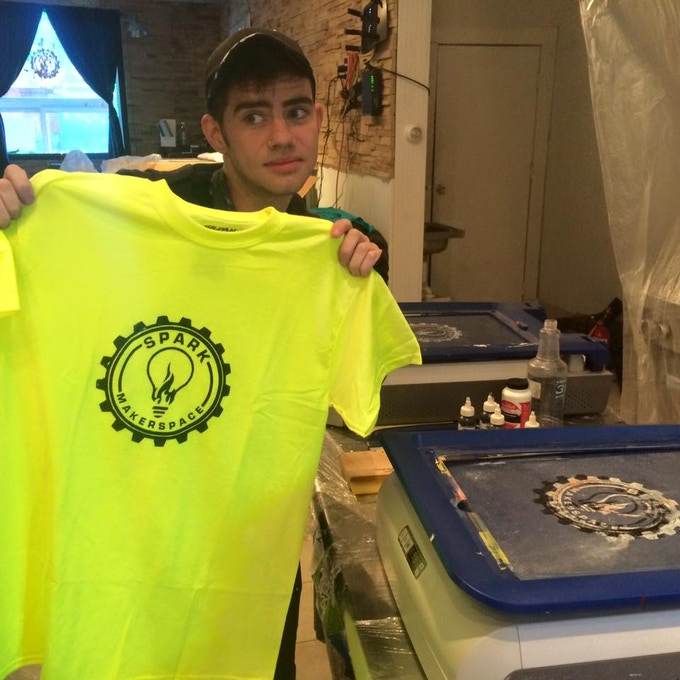 You'll be able to pick color and size of your t-shirt that Spark members like Casey Moran will screen print.