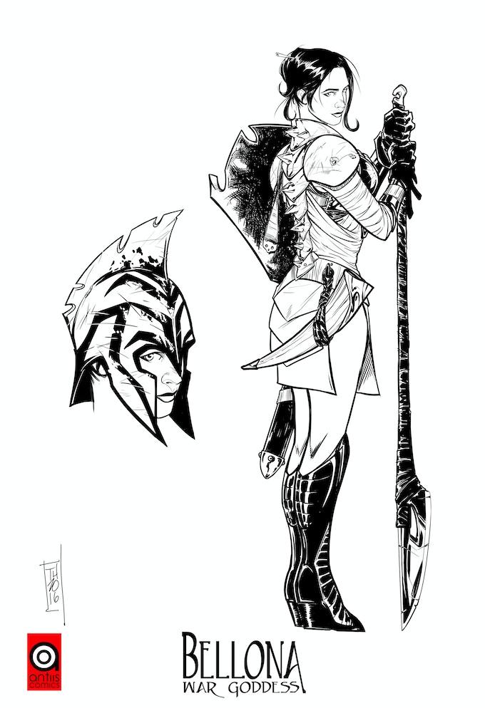"""Bellona: War Goddess"", Pencils/Inks by Tom Hodges"