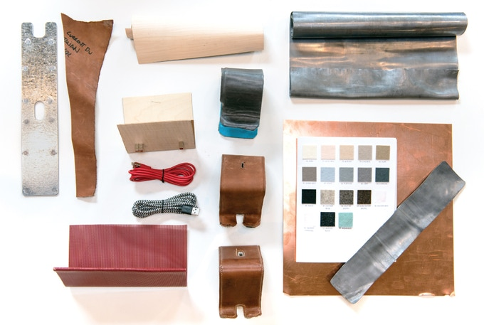 Materials: We explored wood, rubber and various metals before landing on steel, leather and felt