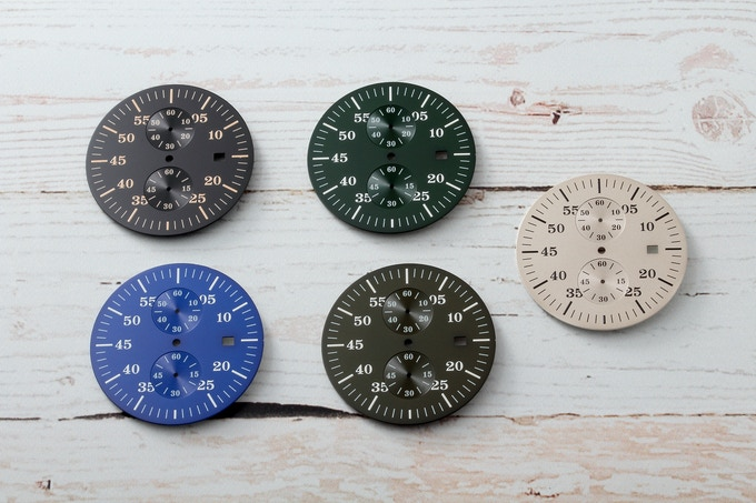 Prototype watch dials.  Possible stretch goals - blue, olive green, and British Racing green.