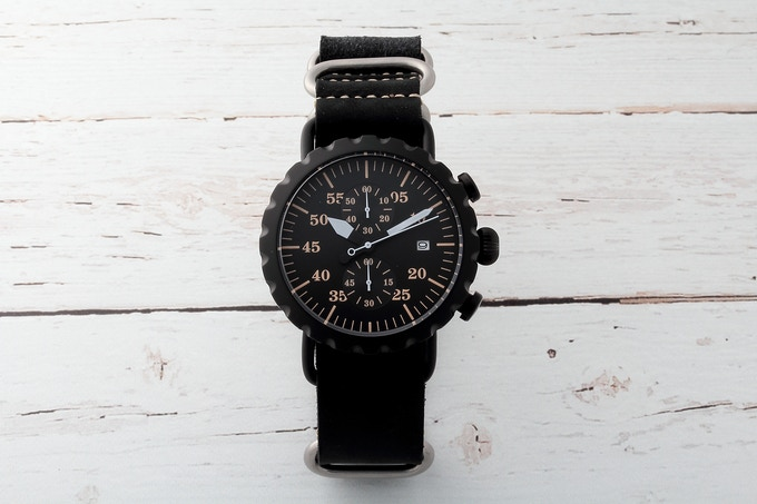 Black PVD Peregrine Squadron with black leather ZULU strap.