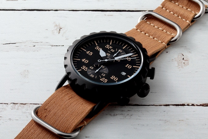 Black PVD Peregrine Squadron with tan Leather ZULU strap.