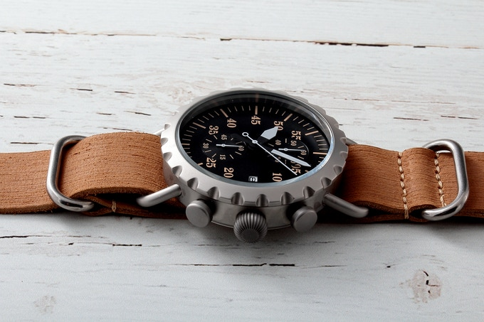 Grey matte Peregrine Squadron with black dial & tan ZULU strap.