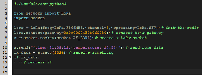 LoRa in MicroPython example