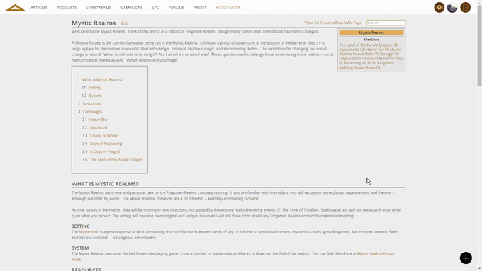The Mystic Realms top wiki page.