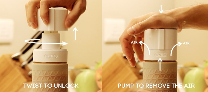 Twist to unlock, which simultaneously releases the pump. Using the palm of your hand, pump the preserver cap up and down to remove the air. The preserver will become more difficult to pump once you have achieved preservation and removed all the air.
