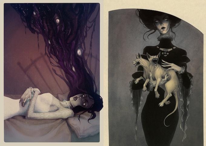 Anne Dark concept art by Lenka Simeckova; left, Anne Dark travels through space and time(Sleep Paralysis art print for Reward #7), right, Madam Shadow pets Janus(Monster Kitty art print for Reward #7).