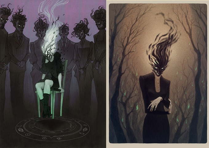 Anne Dark concept art by Lenka Simeckova; left, Anne Dark displaying her powers at a young age(Invocation art print for reward #7), right, Anne Dark now an adult and able to control the power.