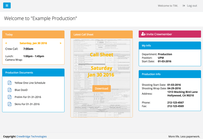 PRODUCTION HOMEPAGE
