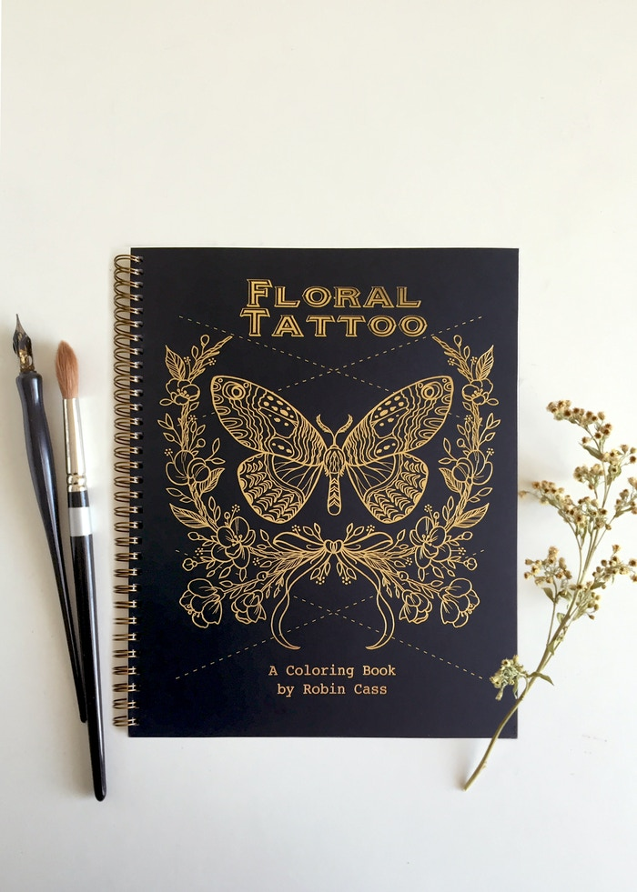 Have fun coloring in flowers, dream catchers and more in this elegant coloring book by tattoo artist Robin Cass.