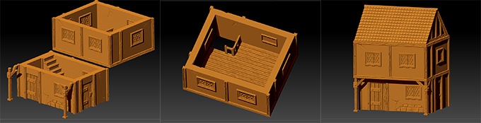 Ready to print textured model of a house from the BB pledge level, as you can see the interior are fully detailed too !