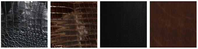 Left to Right: Italian alligator black, Italian alligator brown, Italian oil pull up black, Italian oil pull up brown
