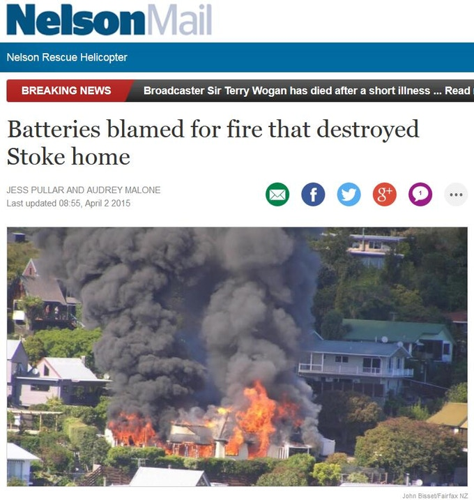 Lithium battery caused home fire