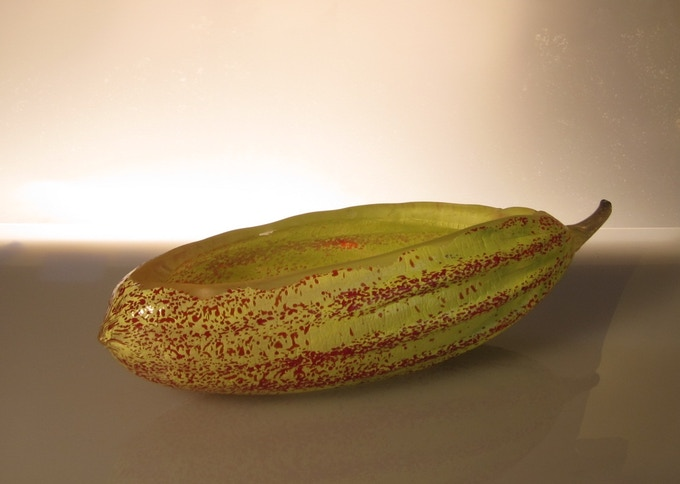 Hand blown glass cacao pod candy dish