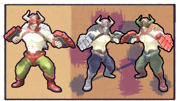 For the technically inclined, each differently-colored piece is a separate mesh with its own unique textures loaded in (though they look like palette swaps). You can also change out the Brute's torso and head!