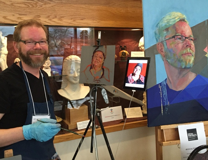 Here I am painting Social Portrait 014 Justy at the Art Studio Fair