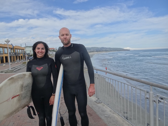 My wife and I surfing in Dunedin, NZ