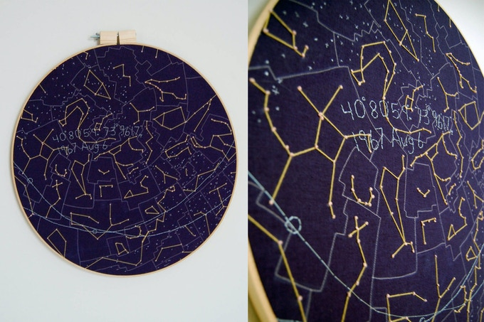"Full view of the night sky - 40°80'59""N 73°96'17""W ; linen, cotton, nylon, wool;  24 inch hoop"