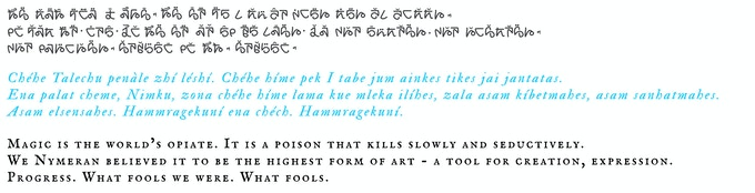 The rune, phonetic, and translation of a phrase in Nymeran, all created by Colm.