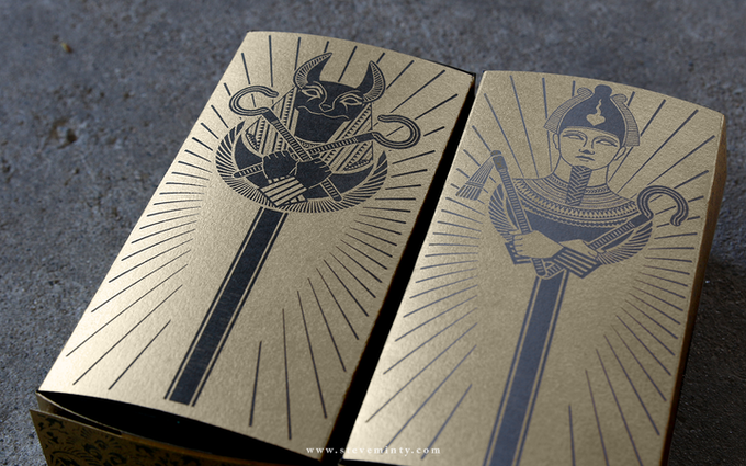 The two available designs for the Sarcophagus Brick Boxes: Anubis (Left) and Osiris (Right)