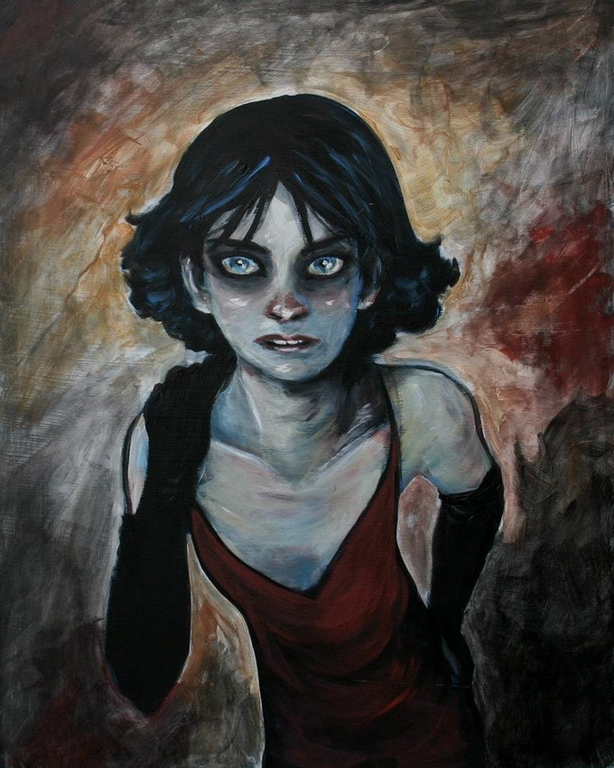 SOLD! Original acrylic on masonite 16 x 20 painting of The Girl created by Cary Polkovitz SOLD!